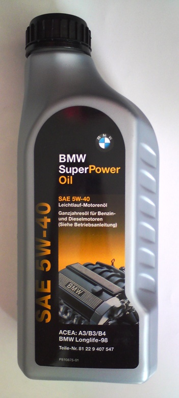 <p>ORIGINAL BMW OIL, SAE 5W40, QUALITY LONGLIFE-98, ACEA A3/B3/B4, MADE IN GERMANY</p>