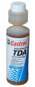 <p>Присадката е предназначена за всички видове дизелови двигатели със или без турбо нагнетяване. Приложима е при автомобили със система Common Rail и Pump Nuzzle, независимо от това дали са монтирани в камиони, автобуси, трактори или се касае за стационарни дизели. Подобрява течливостта до -26° С. <br />Castrol TDA има следните свойства:<br />· Castrol TDA не въздейства отрицателно върху детонационната устойчивост на дизеловото гориво. <br />· На база на ниската концентрация ,с която присъства в горивото, Castrol TDA не въздейства върху визкозитета и плътността му.<br />· Castrol TDA има мощни депресаторни свойства. Използвана в препоръчаното съотношение значително подобрява нискотемпературните свойства на дизеловите горива, като температура на помътняване, пределна температура на филтруемост и температура на застиване.<br />· Castrol TDA има антиокислителни свойства, като по този начин стабилизира горивото и прави възможно продължителното му съхранение. <br />· Castrol TDA се явява инхибитор, като по този начин предпазва от корозия и частично подтиска вредното въздействие на серните съединения. <br />· Castrol TDA има високи противоизностни свойства. Добавката напълно компенсира недостатъчните смазващи свойства на стандартните дизелови горива</p>
